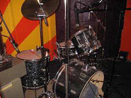 drum kit ready to be recorded at The Recording Workshop sound engineering school